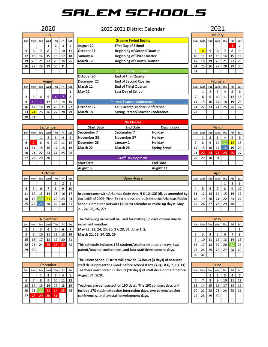 2020 2021 School Calendar Salem School District